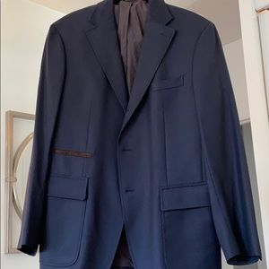 Italian blazer navy blue brown suede Faconnable